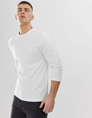 Asos Design DESIGN relaxed 3/4 sleeve t-shirt with crew neck in white