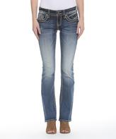 Vigoss Medium Wash Embellished-Pocket New York Bootcut Jeans