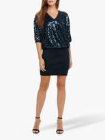 Phase Eight Becca Sequin Bodice Dress, Petrol
