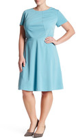 Tahari Short Sleeve Scuba A-Line Dress (Plus Size)