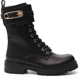 Versace Medusa Safety Pin Buckle Combat Boots