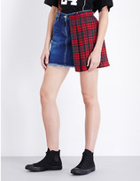 SteveJ & YoniP STEVE J & YONI P Pleated tartan and denim mini skirt