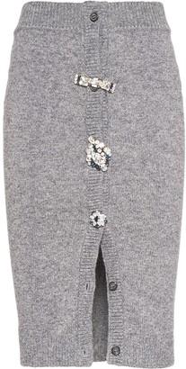 Miu Miu Crystal-Button Knitted Skirt