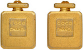 One Kings Lane Vintage Chanel Collectible Coco Bottle Earrings - Vintage Lux - gold