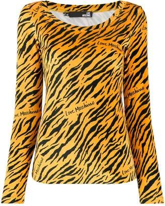 Love Moschino tiger-print velvet T-shirt