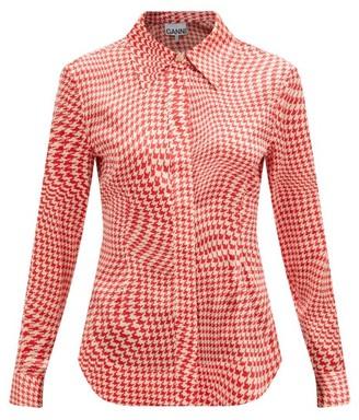 Ganni Houndstooth-print Silk-blend Shirt - Red White