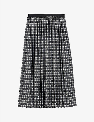 Ted Baker Coliin checked pleated crepe midi skirt
