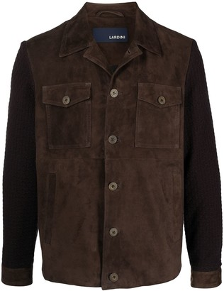 Lardini Knit-Sleeve Suede Shirt Jacket