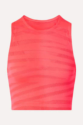 Adam Selman Racer Cropped Paneled Neon Stretch-mesh Top - Bright pink