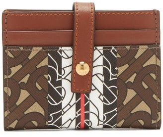 Burberry Sage Tb-print Leather & Coated-canvas Cardholder - Brown Multi