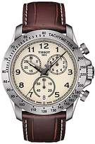Tissot T1064171626200 V8 Chronograph Date Leather Strap Watch, Brown/cream