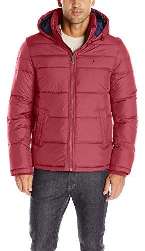 Tommy Hilfiger Men's Midlength Puffer Jacket with Fixed Hood,XXL
