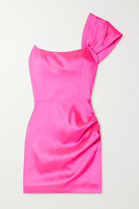 De La Vali Maggie One-shoulder Ruched Satin Mini Dress - Bright pink