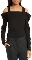 Tibi Women's Crepe Open Shoulder Top