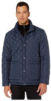 Cole Haan Diamond Quilted Jacket w/ Knit Bib (Navy) Men's Coat