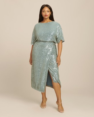 Sally LaPointe Sequin Viscose Belted Wrap Skirt