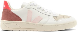 Veja V-10 Leather And Suede Trainers - Pink White