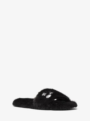 Michael Kors Delphine Crystal Embellished Faux Fur Slide Sandal