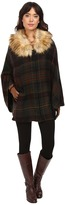 Lauren Ralph Lauren Plaid Ruana w/ Faux Fur Collar