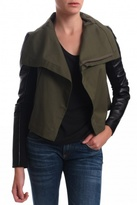 Max Army Leather Sleeved Jacket