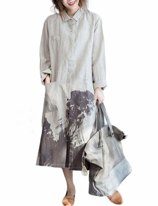 LZJN Woman Lady's Loose Cotton Linen Casual Fashion Button Down Shirt Dress Vintage Painting Style (Beige One Size)