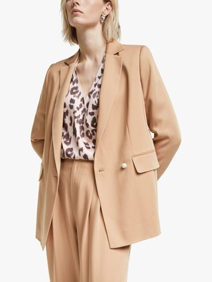 Mother of Pearl Tencel Double Breasted Blazer, Camel