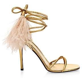 Valentino Women's Garavani Upflair Ostrich Feather Ankle-Wrap Sandals