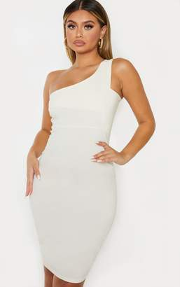 PrettyLittleThing Cream Woven Stretch One Shoulder Midi Dress