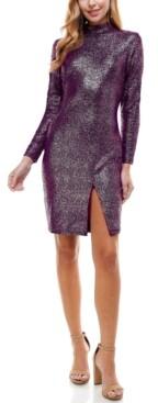 City Studios Juniors' Mock-Neck Glitter Dress