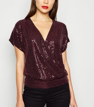 New Look Sequin Embellished Wrap Top