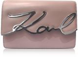 Karl Lagerfeld Pink Ballet Leather K/Signature Shoulder Bag