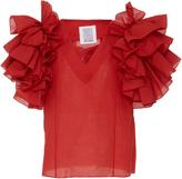 Rosie Assoulin Dust Ruffle Red Top