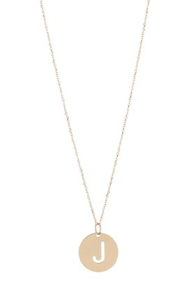KARAT RUSH 14K Yellow Gold Initial Cutout Round Disc Pendant Necklace - Multiple Letters Available