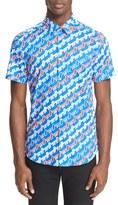 Kenzo Men's Extra Trim Stripe Short Sleeve Sport Shirt