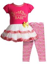 Sweet Heart Rose Sweetheart Rose Birthday Babe Glitter Screen-Printed Dress and Striped Leggings Set