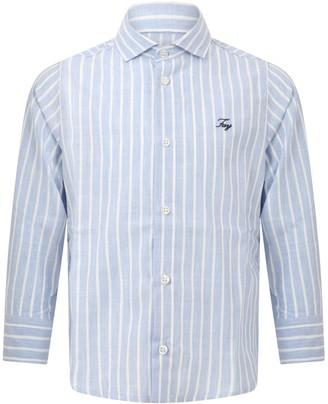 Fay Light Blue Shirt For Boy With Logo