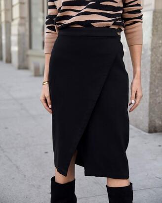 The Drop Women's Black Diagonal Overlap Button-Waist Midi Skirt by @lisadnyc M