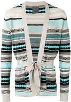 Laneus stripe tie-waist cardigan - men - Cotton - 46