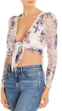 For Love & Lemons Wildflower Tie-Front Cropped Top