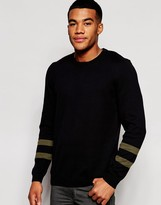 Asos Jumper With Contrast Sleeve Detail