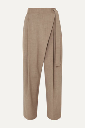 LE 17 SEPTEMBRE Draped Woven Tapered Pants - Beige
