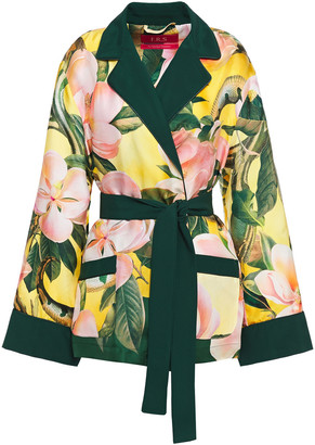 F.R.S For Restless Sleepers Giocasta Satin-trimmed Floral-print Silk-twill Jacket