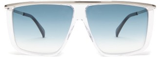Givenchy Metallic-topbar Square Acetate Sunglasses - Womens - Clear