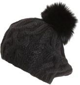 Eugenia Kim Women's 'Genevieve' Genuine Arctic Fox Fur Trim Alpaca Beret - Black