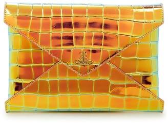 Vivienne Westwood Bella iridescent crocodile-effect leather clutch