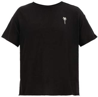 The Elder Statesman Palm Tree-embroidered Cashmere-blend T-shirt - Mens - Black