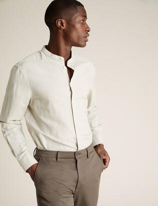 Marks and Spencer Easy Iron Linen Grandad Collar Shirt