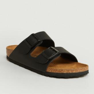 Birkenstock Black Birko Flor Leather Arizona Sandals - 35 | leather | black - Black/Black