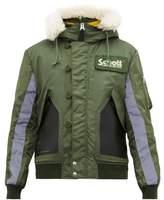 Schott - Leather Panelled Hooded Bomber Jacket - Mens - Green Multi
