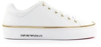 Emporio Armani White Nappa Leather Sneaker